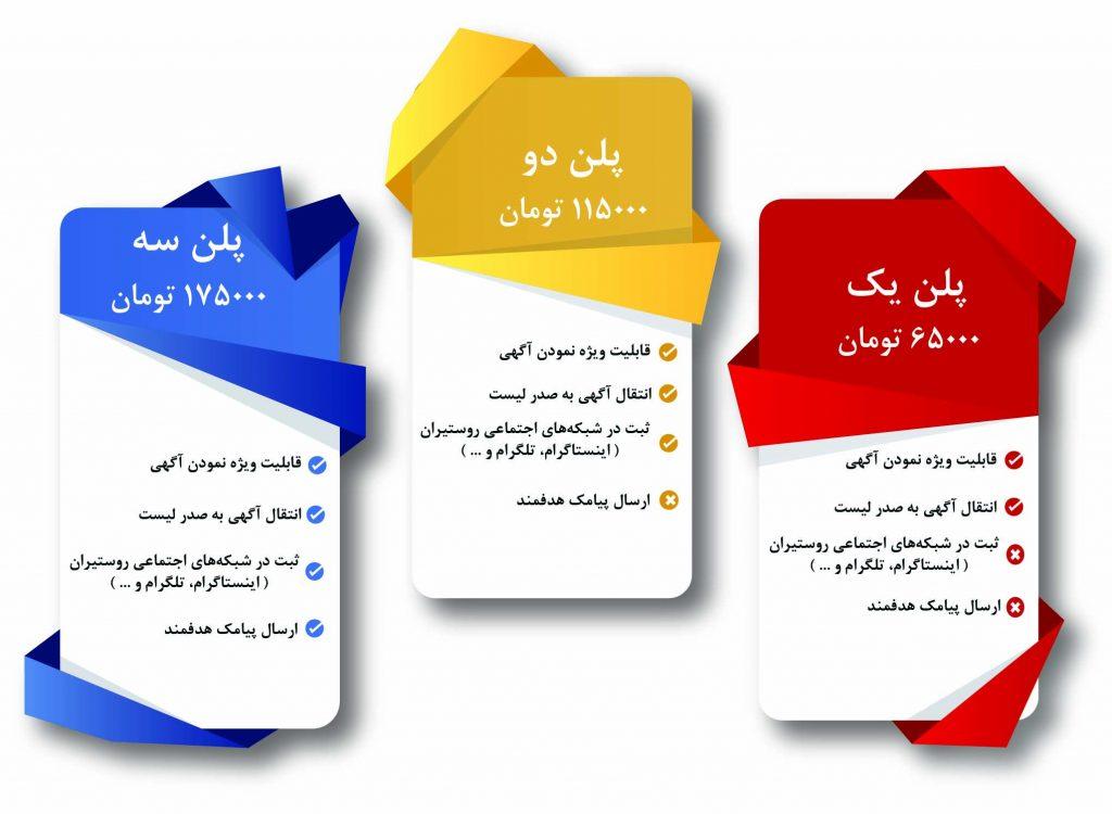 آگهی رایگان | تبلیغ | روستا | وب سایت | شبکه های اجتماعی | بنر | پلن | پیامک | تعرفه آگهی